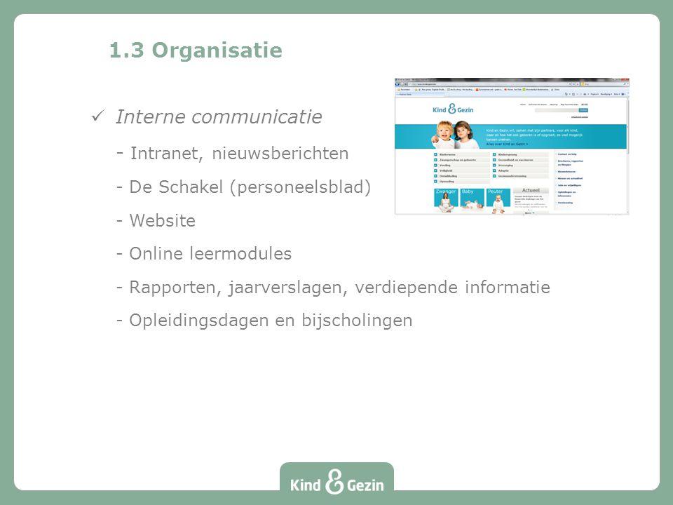 1.3 Organisatie Interne communicatie - Intranet, nieuwsberichten - De Schakel (personeelsblad) - Website - Online leermodules - Rapporten, jaarverslagen, verdiepende informatie - Opleidingsdagen en bijscholingen