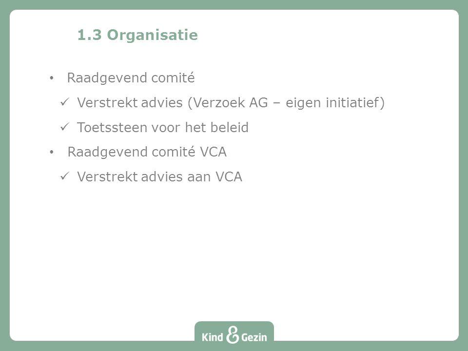 Raadgevend comité Verstrekt advies (Verzoek AG – eigen initiatief) Toetssteen voor het beleid Raadgevend comité VCA Verstrekt advies aan VCA 1.3 Organisatie