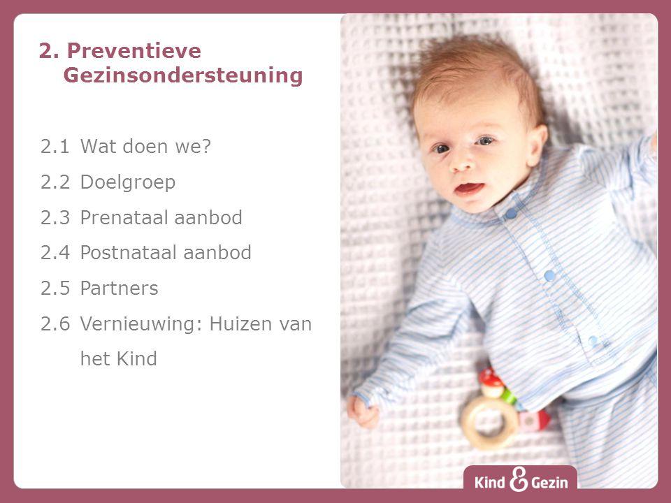 2. Preventieve Gezinsondersteuning 2.1Wat doen we? 2.2 Doelgroep 2.3 Prenataal aanbod 2.4 Postnataal aanbod 2.5 Partners 2.6 Vernieuwing: Huizen van h