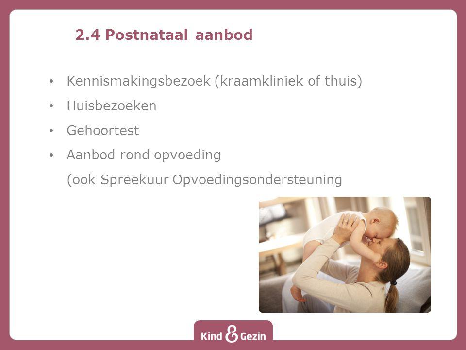2.4 Postnataal aanbod Kennismakingsbezoek (kraamkliniek of thuis) Huisbezoeken Gehoortest Aanbod rond opvoeding (ook Spreekuur Opvoedingsondersteuning