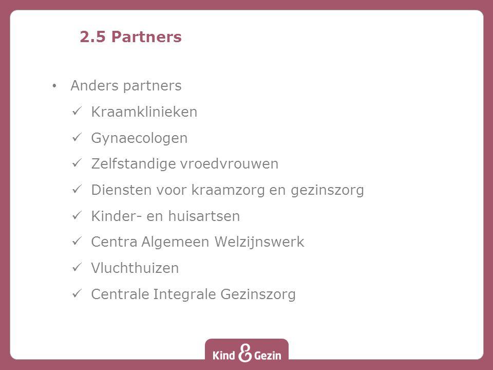 2.5 Partners Anders partners Kraamklinieken Gynaecologen Zelfstandige vroedvrouwen Diensten voor kraamzorg en gezinszorg Kinder- en huisartsen Centra