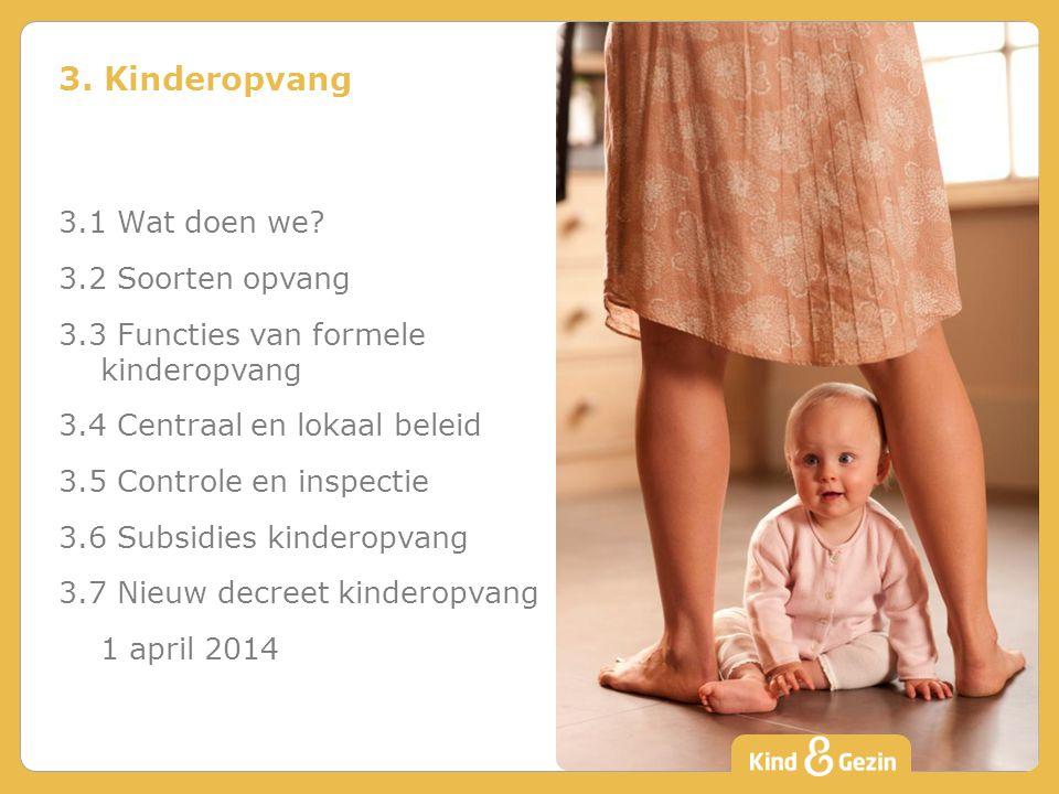 3. Kinderopvang 3.1 Wat doen we? 3.2 Soorten opvang 3.3 Functies van formele kinderopvang 3.4 Centraal en lokaal beleid 3.5 Controle en inspectie 3.6