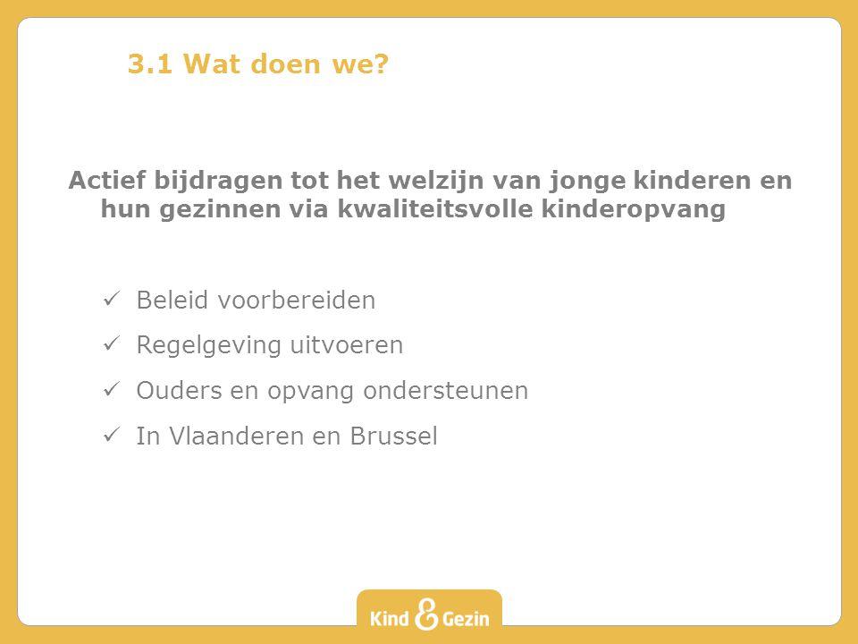 3.1 Wat doen we? Actief bijdragen tot het welzijn van jonge kinderen en hun gezinnen via kwaliteitsvolle kinderopvang Beleid voorbereiden Regelgeving
