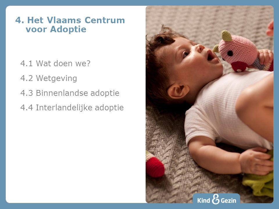 4. Het Vlaams Centrum voor Adoptie 4.1 Wat doen we? 4.2 Wetgeving 4.3 Binnenlandse adoptie 4.4 Interlandelijke adoptie
