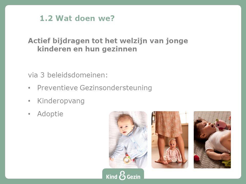 1.2 Wat doen we? Actief bijdragen tot het welzijn van jonge kinderen en hun gezinnen via 3 beleidsdomeinen: Preventieve Gezinsondersteuning Kinderopva
