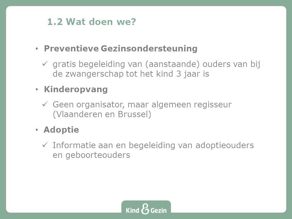 1.2 Wat doen we? Preventieve Gezinsondersteuning gratis begeleiding van (aanstaande) ouders van bij de zwangerschap tot het kind 3 jaar is Kinderopvan