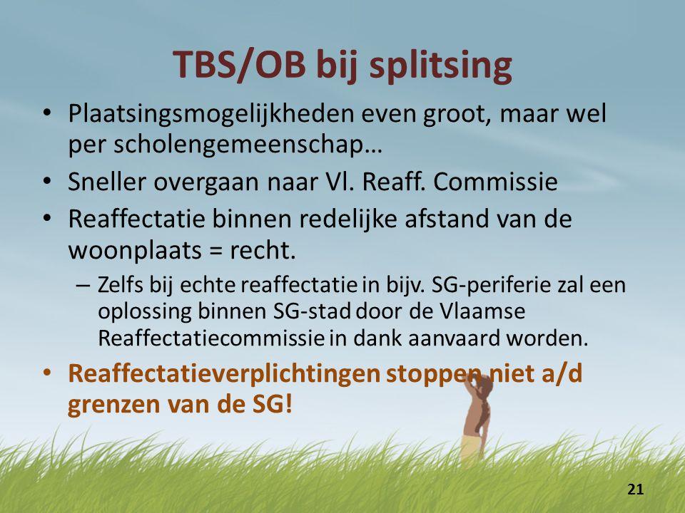 TBS/OB bij splitsing De voorbije jaren : – Slechts 2 gevallen van echte reaffectatie : 2x een administratief medew.