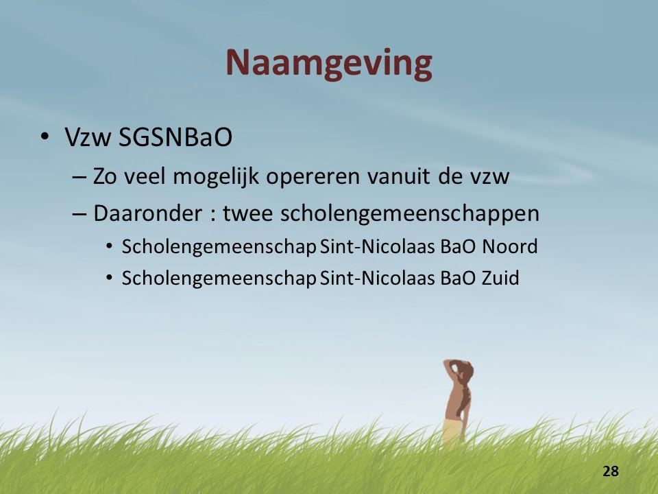 Naamgeving Vzw SGSNBaO – Zo veel mogelijk opereren vanuit de vzw – Daaronder : twee scholengemeenschappen Scholengemeenschap Sint-Nicolaas BaO Noord Scholengemeenschap Sint-Nicolaas BaO Zuid 28