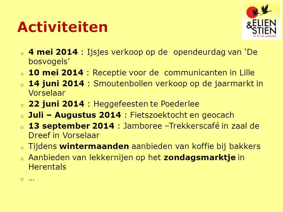 o 4 mei 2014 : Ijsjes verkoop op de opendeurdag van 'De bosvogels' o 10 mei 2014 : Receptie voor de communicanten in Lille o 14 juni 2014 : Smoutenbol