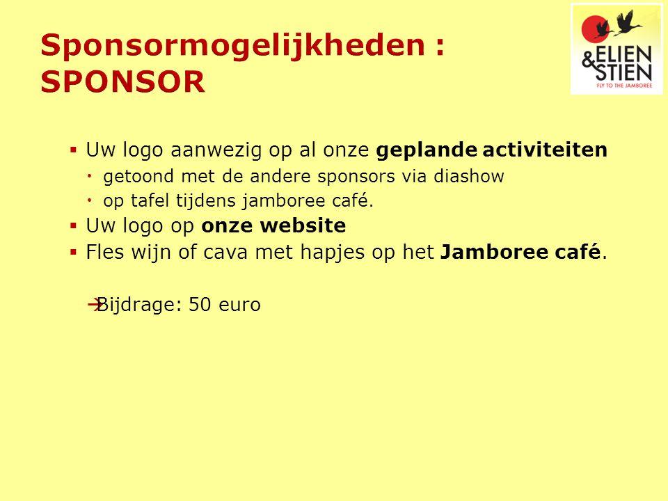  Uw logo aanwezig op al onze geplande activiteiten  getoond met de andere sponsors via diashow  op tafel tijdens jamboree café.  Uw logo op onze w