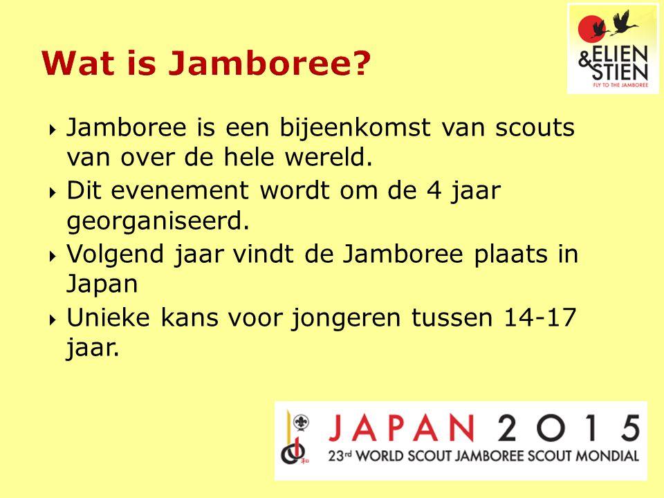  Jamboree is een bijeenkomst van scouts van over de hele wereld.  Dit evenement wordt om de 4 jaar georganiseerd.  Volgend jaar vindt de Jamboree p