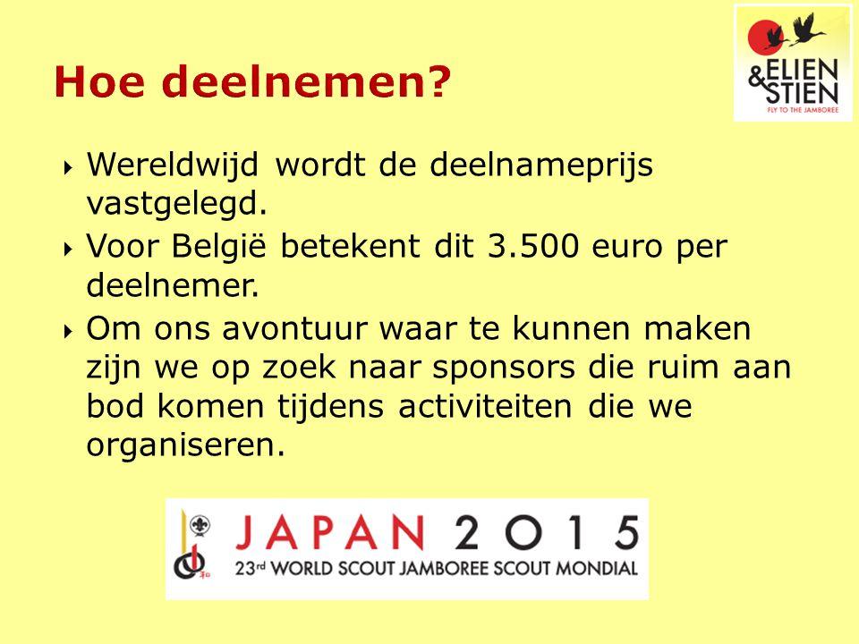  Wereldwijd wordt de deelnameprijs vastgelegd.  Voor België betekent dit 3.500 euro per deelnemer.  Om ons avontuur waar te kunnen maken zijn we op