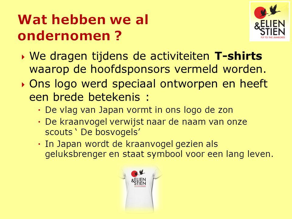  We dragen tijdens de activiteiten T-shirts waarop de hoofdsponsors vermeld worden.  Ons logo werd speciaal ontworpen en heeft een brede betekenis :