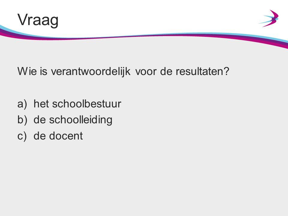Wie is verantwoordelijk voor de resultaten? a)het schoolbestuur b)de schoolleiding c)de docent Vraag