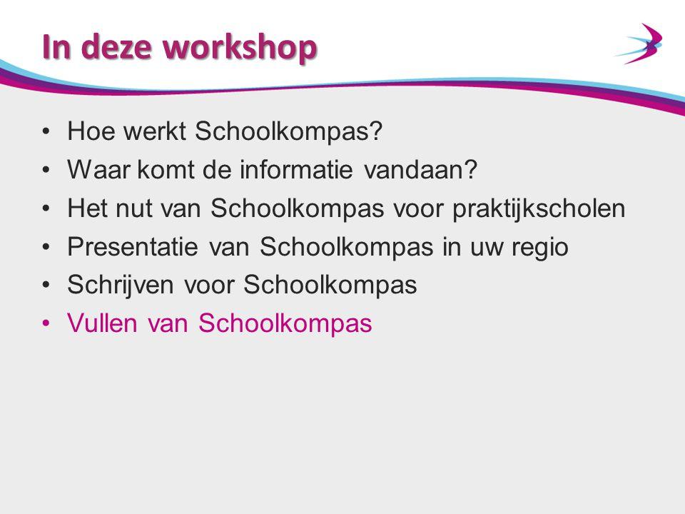 In deze workshop Hoe werkt Schoolkompas? Waar komt de informatie vandaan? Het nut van Schoolkompas voor praktijkscholen Presentatie van Schoolkompas i