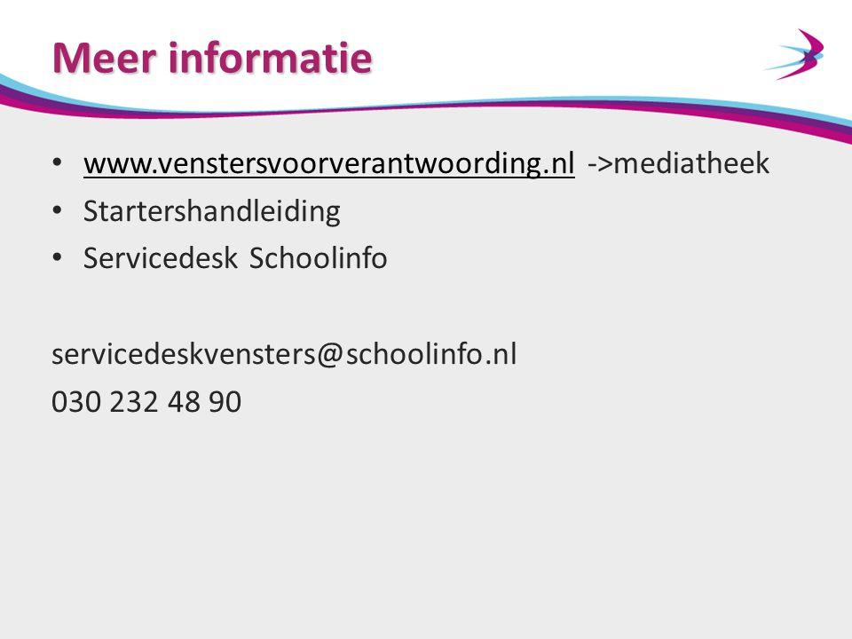 Meer informatie www.venstersvoorverantwoording.nl ->mediatheek www.venstersvoorverantwoording.nl Startershandleiding Servicedesk Schoolinfo servicedes