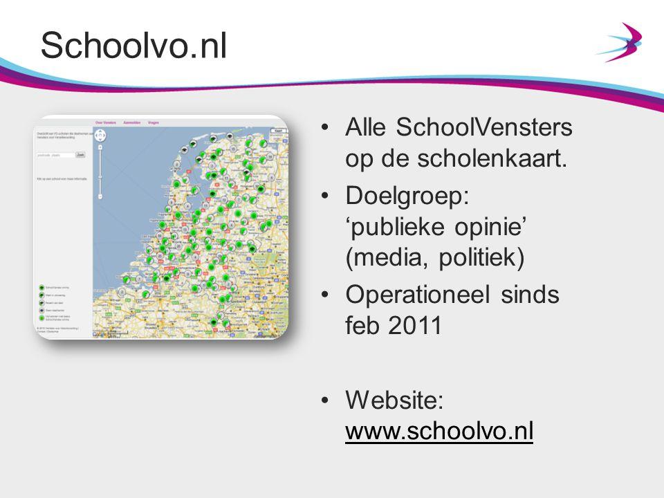 Schoolvo.nl Alle SchoolVensters op de scholenkaart. Doelgroep: 'publieke opinie' (media, politiek) Operationeel sinds feb 2011 Website: www.schoolvo.n