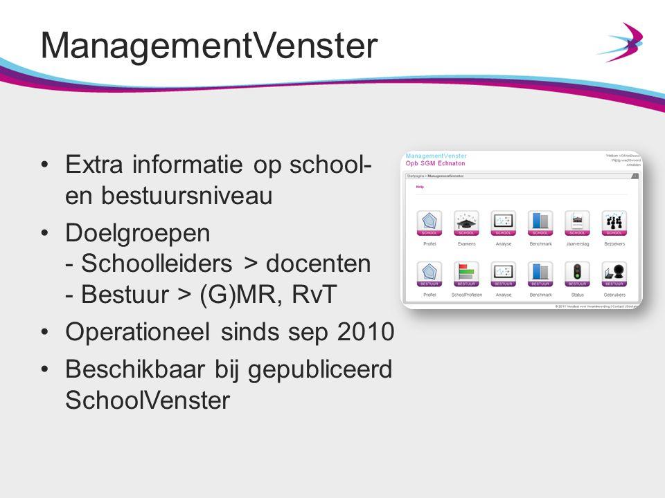 ManagementVenster Extra informatie op school- en bestuursniveau Doelgroepen - Schoolleiders > docenten - Bestuur > (G)MR, RvT Operationeel sinds sep 2
