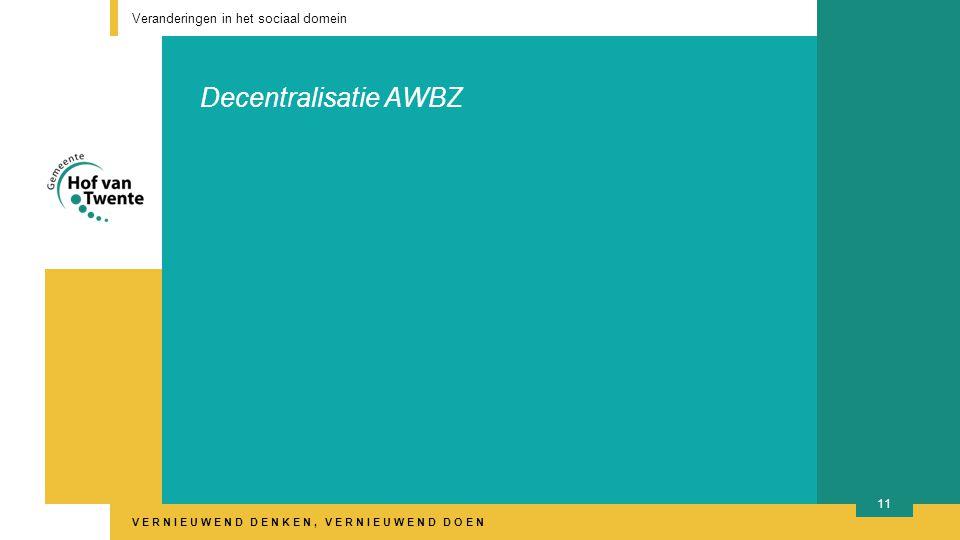 VERNIEUWEND DENKEN, VERNIEUWEND DOEN Decentralisatie AWBZ Veranderingen in het sociaal domein 11