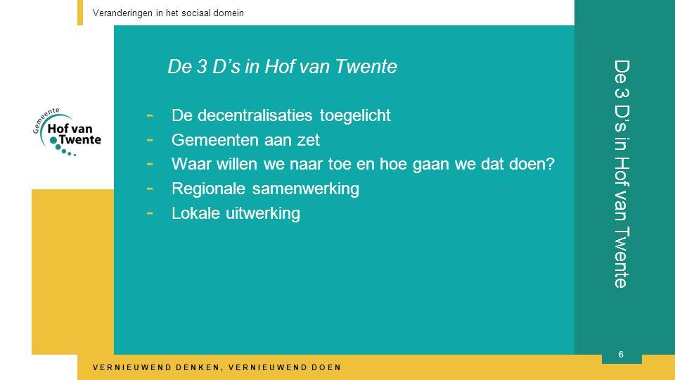 VERNIEUWEND DENKEN, VERNIEUWEND DOEN De 3 D's in Hof van Twente - De decentralisaties toegelicht - Gemeenten aan zet - Waar willen we naar toe en hoe gaan we dat doen.