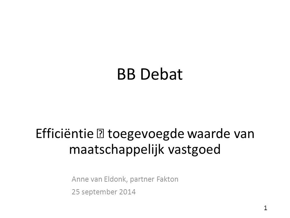BB Debat Anne van Eldonk, partner Fakton 25 september 2014 1 Efficiëntie  toegevoegde waarde van maatschappelijk vastgoed