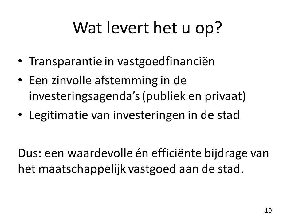 Wat levert het u op? Transparantie in vastgoedfinanciën Een zinvolle afstemming in de investeringsagenda's (publiek en privaat) Legitimatie van invest