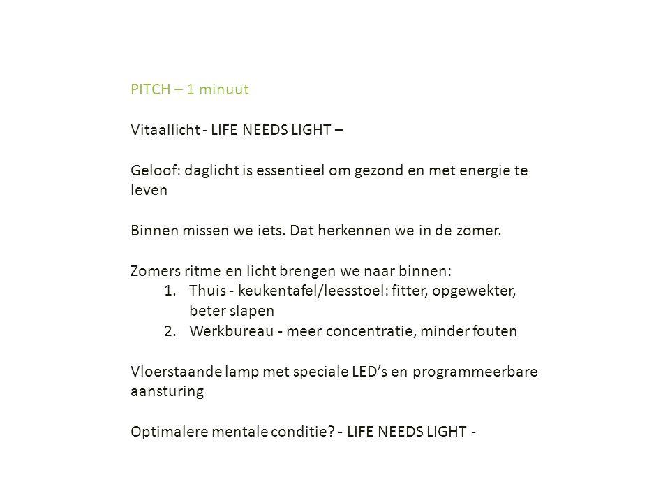 PITCH – 1 minuut Vitaallicht - LIFE NEEDS LIGHT – Geloof: daglicht is essentieel om gezond en met energie te leven Binnen missen we iets. Dat herkenne