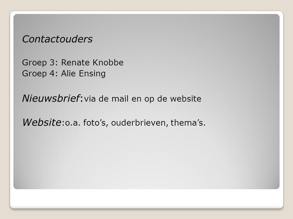 Contactouders Groep 3: Renate Knobbe Groep 4: Alie Ensing Nieuwsbrief: via de mail en op de website Website :o.a. foto's, ouderbrieven, thema's.
