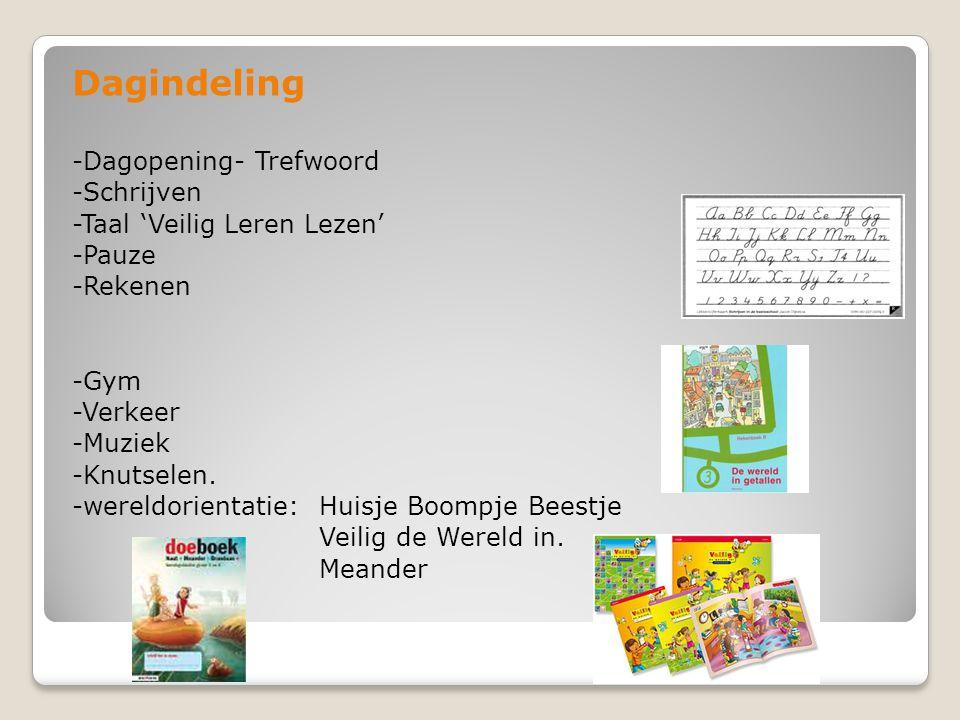 Dagindeling -Dagopening- Trefwoord -Schrijven -Taal 'Veilig Leren Lezen' -Pauze -Rekenen -Gym -Verkeer -Muziek -Knutselen. -wereldorientatie: Huisje B