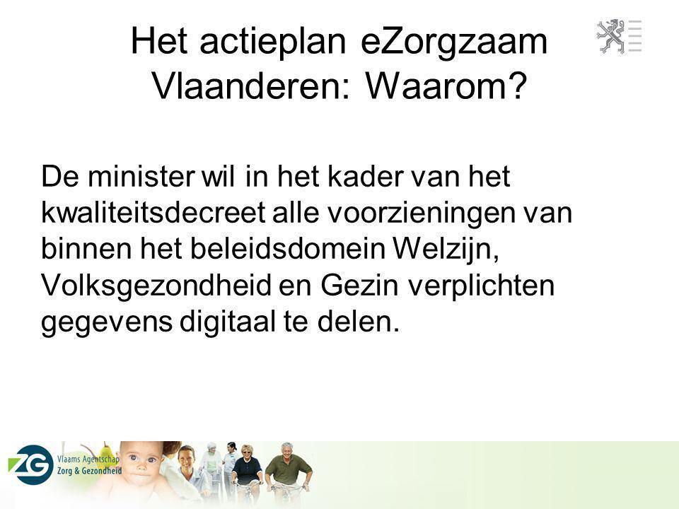 Het actieplan eZorgzaam Vlaanderen: Waarom? De minister wil in het kader van het kwaliteitsdecreet alle voorzieningen van binnen het beleidsdomein Wel