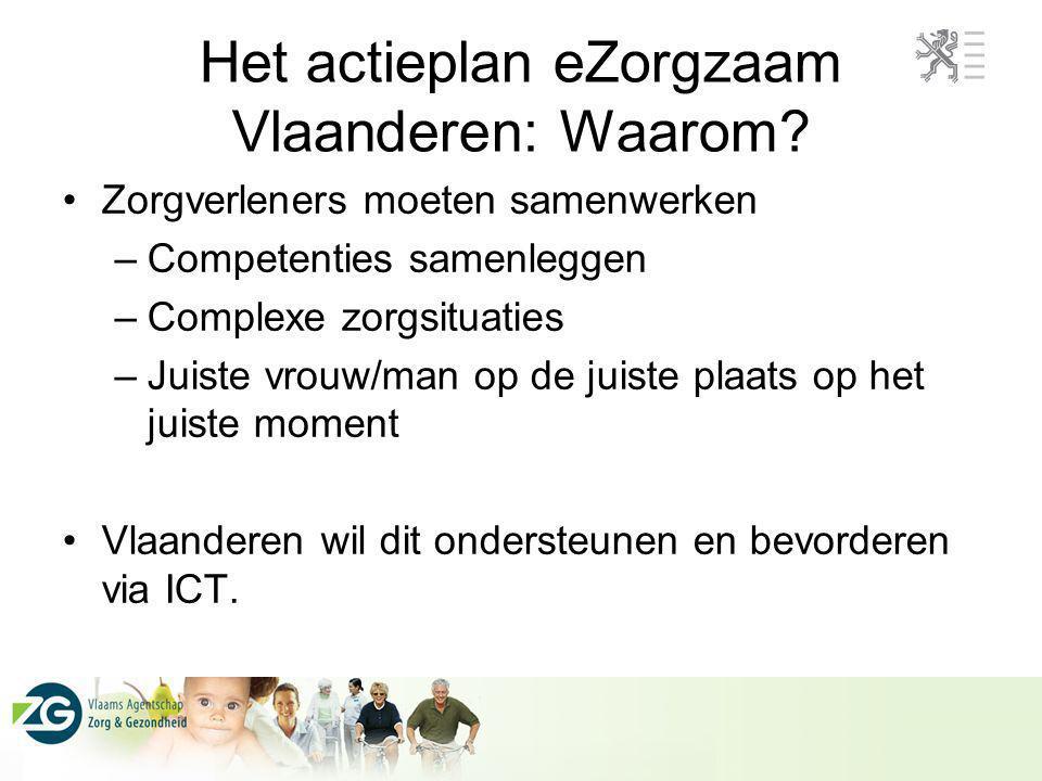 Het actieplan eZorgzaam Vlaanderen: Waarom? Zorgverleners moeten samenwerken –Competenties samenleggen –Complexe zorgsituaties –Juiste vrouw/man op de