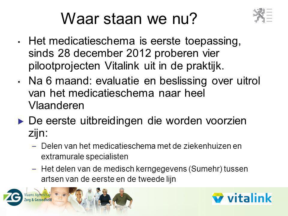 Het medicatieschema is eerste toepassing, sinds 28 december 2012 proberen vier pilootprojecten Vitalink uit in de praktijk. Na 6 maand: evaluatie en b