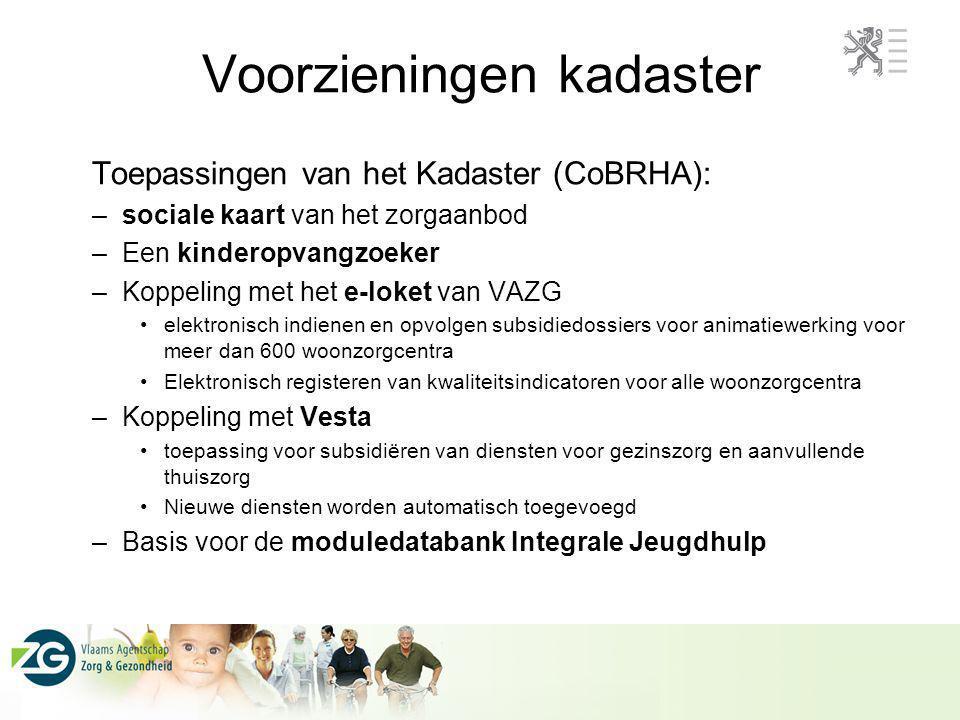 Toepassingen van het Kadaster (CoBRHA): –sociale kaart van het zorgaanbod –Een kinderopvangzoeker –Koppeling met het e-loket van VAZG elektronisch ind