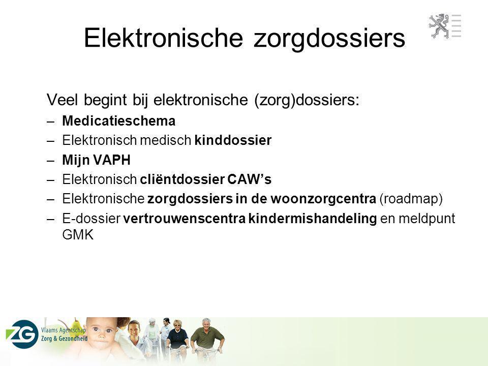 Veel begint bij elektronische (zorg)dossiers: –Medicatieschema –Elektronisch medisch kinddossier –Mijn VAPH –Elektronisch cliëntdossier CAW's –Elektro