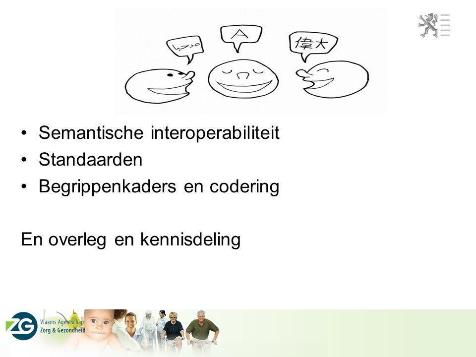 Semantische interoperabiliteit Standaarden Begrippenkaders en codering En overleg en kennisdeling Standaarden
