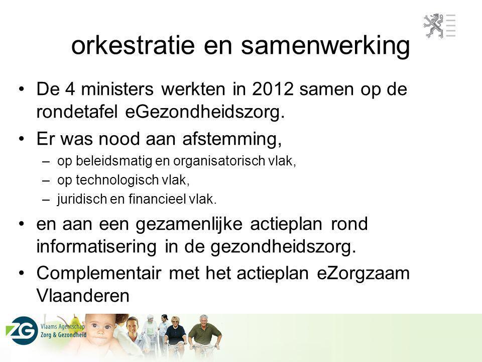 orkestratie en samenwerking De 4 ministers werkten in 2012 samen op de rondetafel eGezondheidszorg. Er was nood aan afstemming, –op beleidsmatig en or