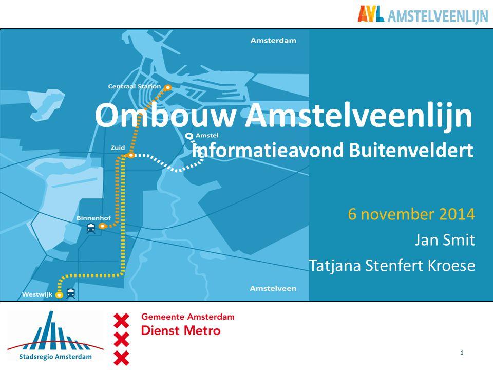 Welkom en Programma 19.30 Opening en welkom 19.45Ombouw Amstelveenlijn  Terugblik  Waarom zijn we hier.