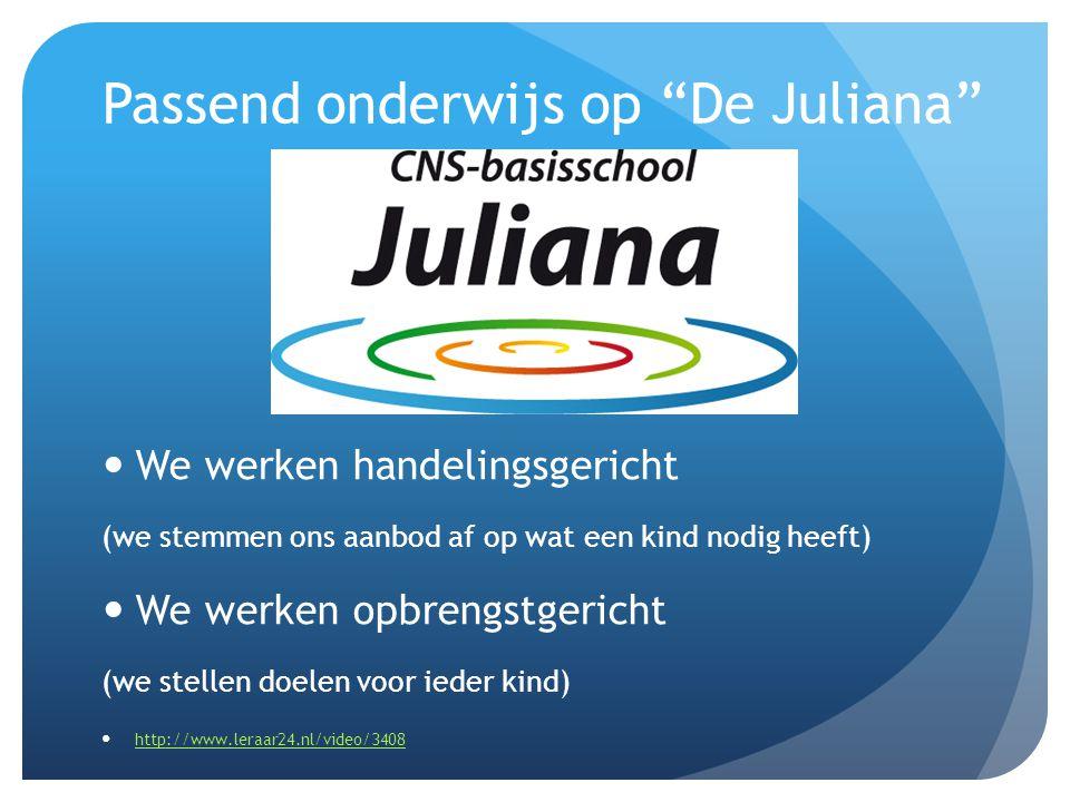 Passend onderwijs op De Juliana We werken handelingsgericht (we stemmen ons aanbod af op wat een kind nodig heeft) We werken opbrengstgericht (we stellen doelen voor ieder kind) http://www.leraar24.nl/video/3408