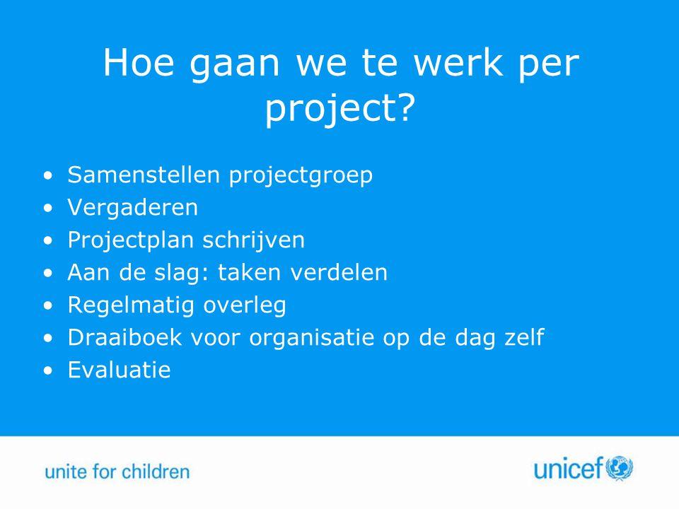 Hoe gaan we te werk per project? Samenstellen projectgroep Vergaderen Projectplan schrijven Aan de slag: taken verdelen Regelmatig overleg Draaiboek v