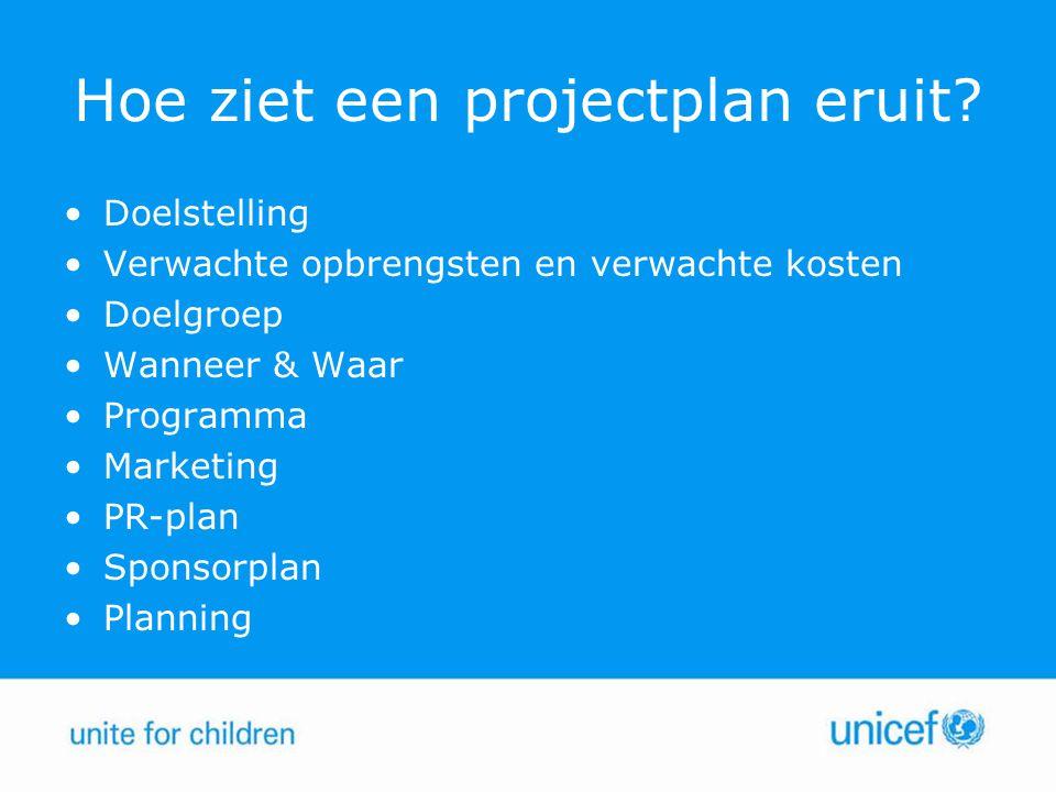 Hoe ziet een projectplan eruit? Doelstelling Verwachte opbrengsten en verwachte kosten Doelgroep Wanneer & Waar Programma Marketing PR-plan Sponsorpla