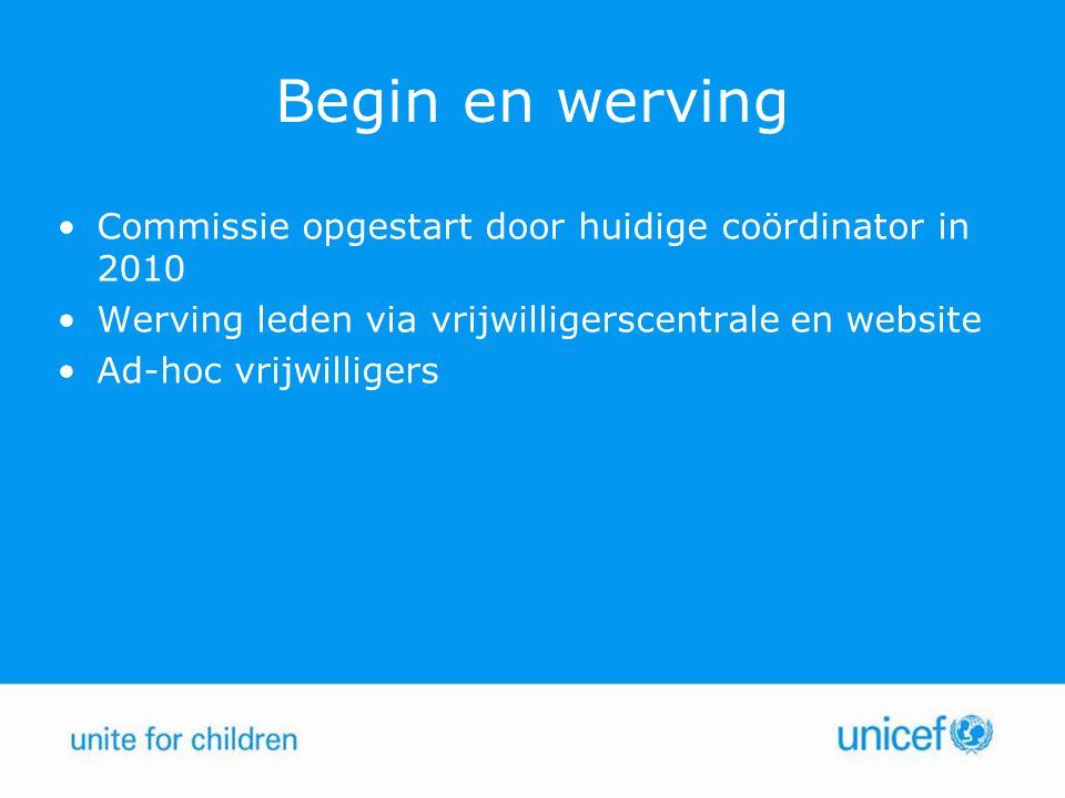 Begin en werving Commissie opgestart door huidige coördinator in 2010 Werving leden via vrijwilligerscentrale en website Ad-hoc vrijwilligers