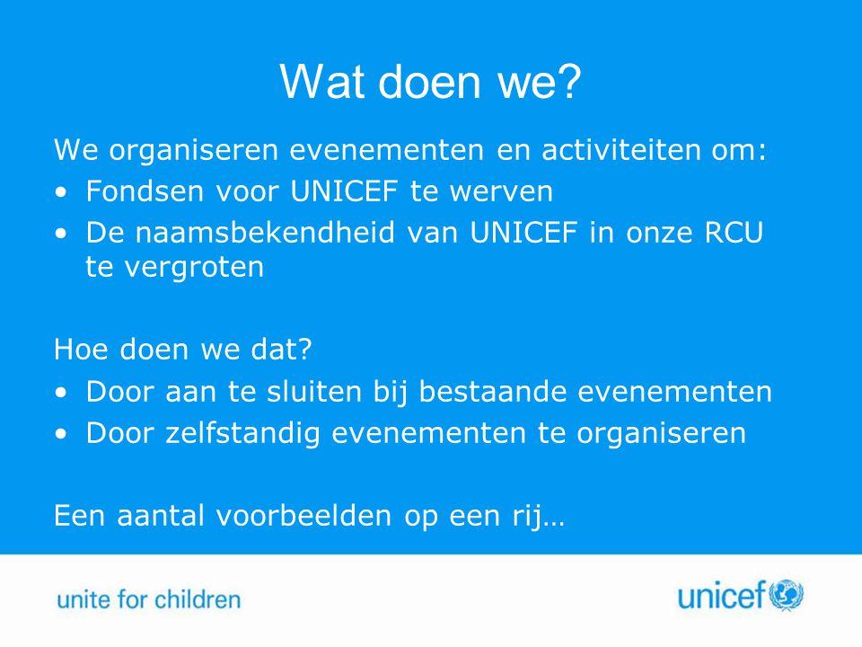 Wat doen we? We organiseren evenementen en activiteiten om: Fondsen voor UNICEF te werven De naamsbekendheid van UNICEF in onze RCU te vergroten Hoe d