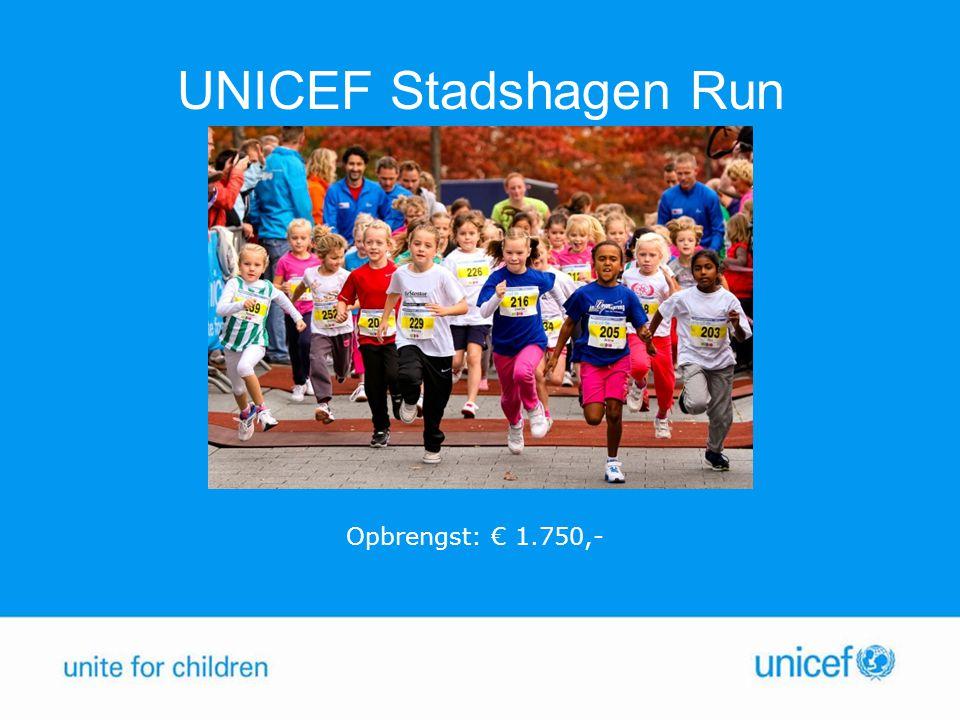UNICEF Stadshagen Run Opbrengst: € 1.750,-