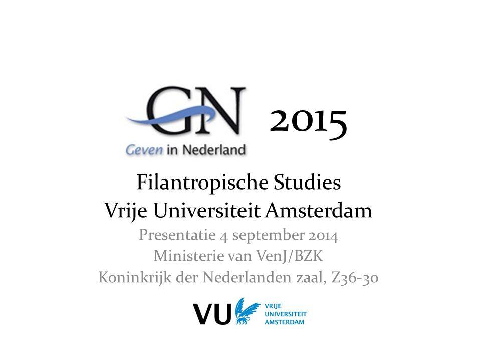 2015 Filantropische Studies Vrije Universiteit Amsterdam Presentatie 4 september 2014 Ministerie van VenJ/BZK Koninkrijk der Nederlanden zaal, Z36-30