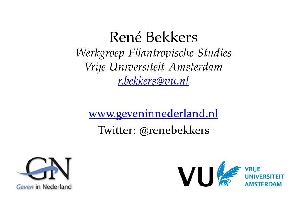 René Bekkers Werkgroep Filantropische Studies Vrije Universiteit Amsterdam r.bekkers@vu.nl www.geveninnederland.nl Twitter: @renebekkers