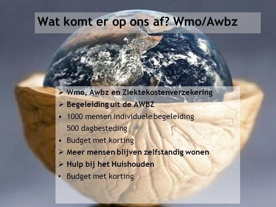 Wat komt er op ons af? Wmo/Awbz  Wmo, Awbz en Ziektekostenverzekering  Begeleiding uit de AWBZ 1000 mensen individuele begeleiding 500 dagbesteding