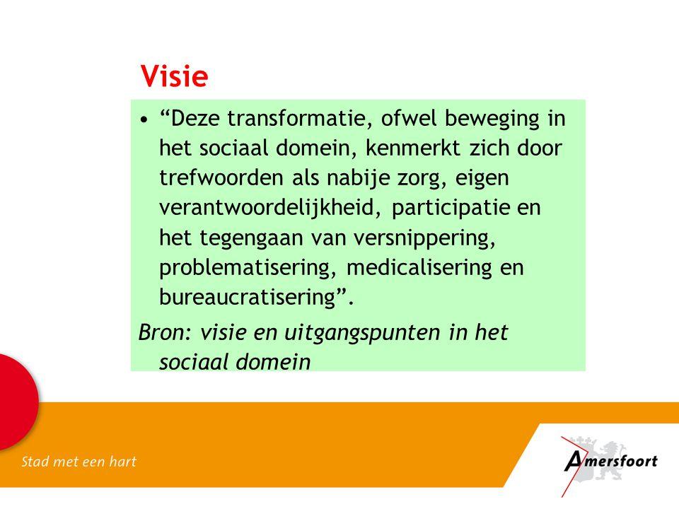 """Visie """"Deze transformatie, ofwel beweging in het sociaal domein, kenmerkt zich door trefwoorden als nabije zorg, eigen verantwoordelijkheid, participa"""