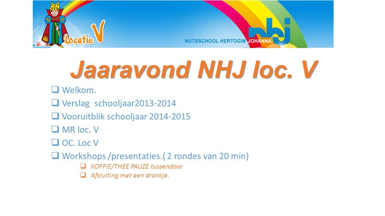 Jaaravond NHJ loc. V  Welkom.  Verslag schooljaar2013-2014  Vooruitblik schooljaar 2014-2015  MR loc. V  OC. Loc V  Workshops /presentaties.( 2
