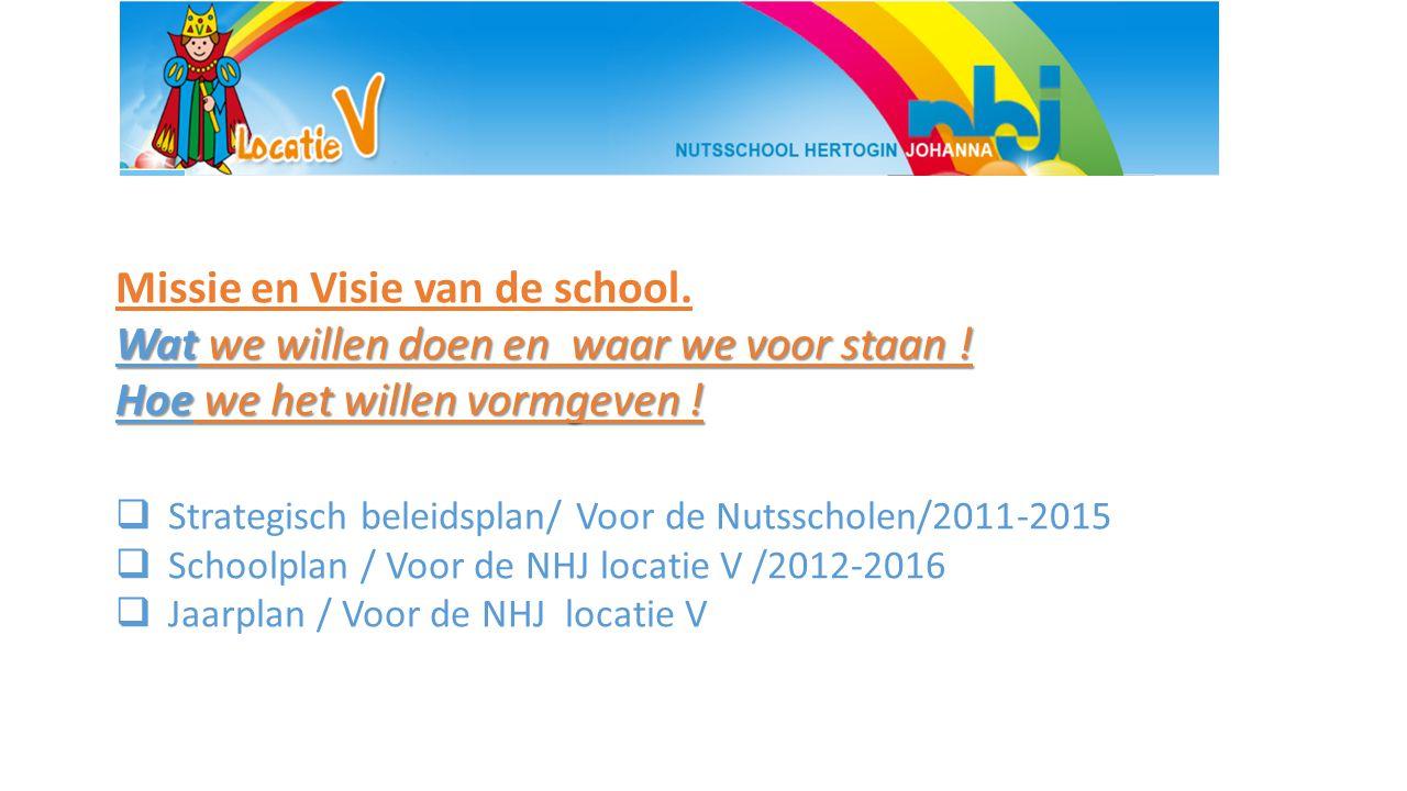 Missie en Visie van de school. Wat we willen doen en waar we voor staan ! Hoe we het willen vormgeven !  Strategisch beleidsplan/ Voor de Nutsscholen