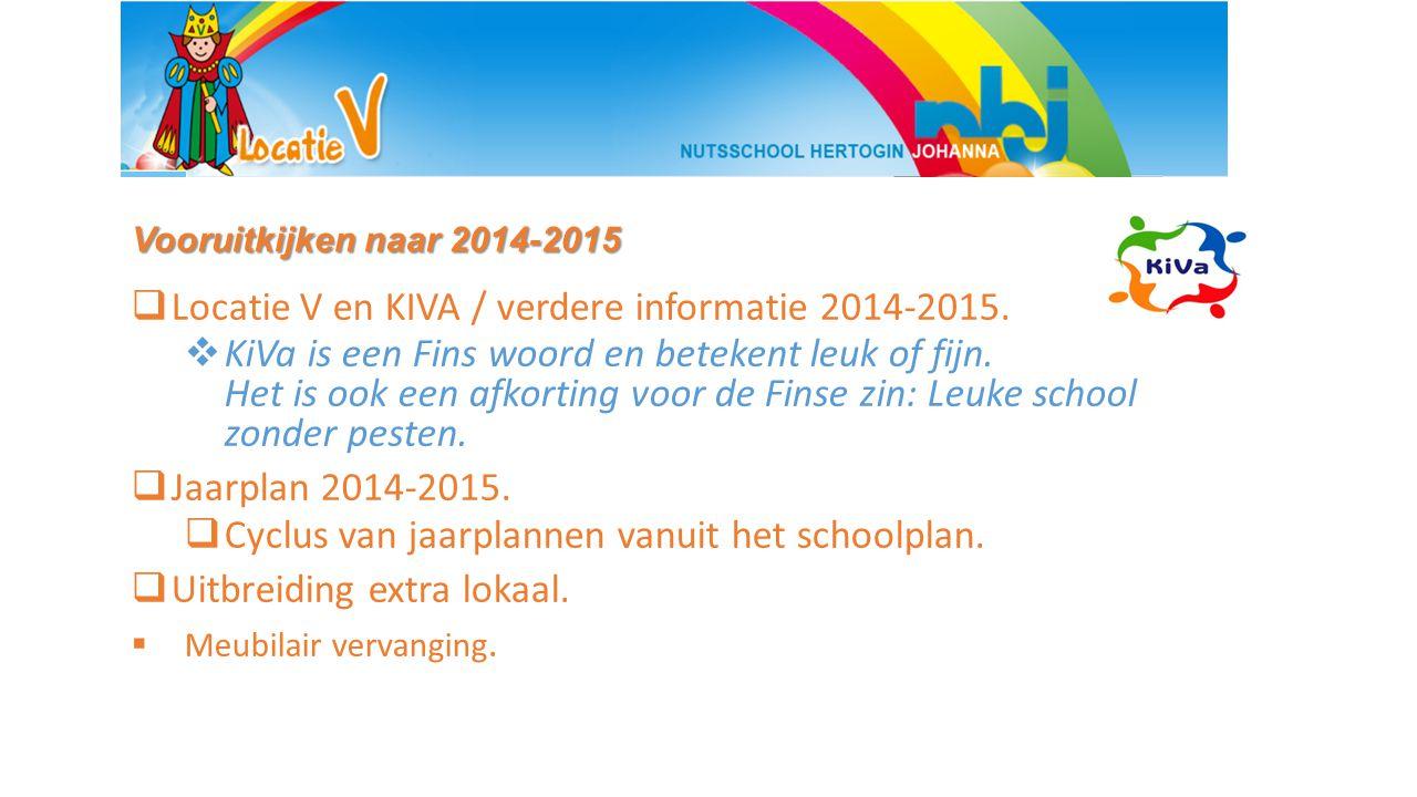 Vooruitkijken naar 2014-2015  Locatie V en KIVA / verdere informatie 2014-2015.  KiVa is een Fins woord en betekent leuk of fijn. Het is ook een afk
